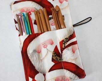 Crochet Hook Case, Jolly Santa, Crochet Hook Organizer, Crochet Hook Holder Rollup
