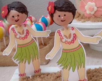 Hula Girl Cake Pop Printables