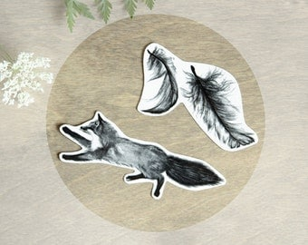Temporary Tattoo Feathers and Fox (Includes 2 Tattoos)