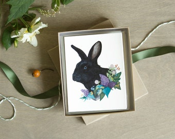 Black Rabbit Floral Card Set 6pc Blank Note Card A2 Botanical Stationery