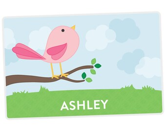 Cute Bird Placemat - Personalized Placemat for Kids - Custom Placemat - Activity Placemat - laminated, double-sided