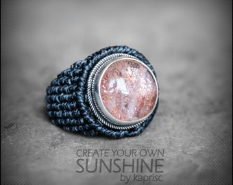 Sunstone Silver 925 Macrame Ring