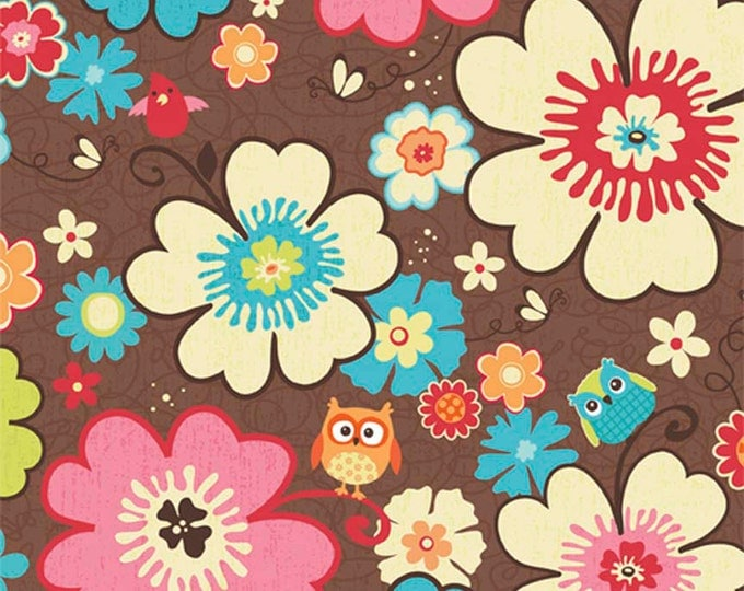Print Fabric /Happy Flappers Main / Colorful Flowers on Brown / Sewing Fabric / Quilting Fabric / by Riley Blake / C4020