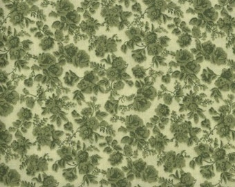 Floral Fabric, Quilters Calicos, Green Floral Fabric, Green Fabric, Green Flowers, 10021
