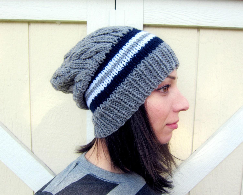 Knitting Pattern For Mens Oversized Beanie : Slouchy Hat Mens Oversized Beanie Womens Knitted Cap Gray