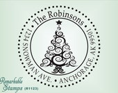 Christmas Return Address Rubber Stamp - Best Seller  - Personalized Etsy Design (R1123) Swirly Christmas Tree