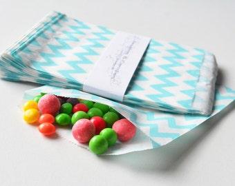 "25 Patterned Blue-Teal Chevron Paper Bags Size 5 1/8 x6 3/8"" -Candy Bags -Birthday Paper Bags -Teal Paper bags -Wedding Favor Bags"