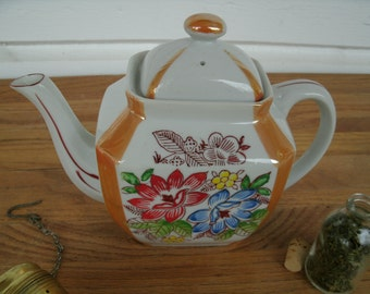 Vintage Lusterware And Floral Tea Pot