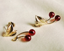Rare 80's Red Cherry Pierced Earrings, Cherry Sprig Earrings, Convertible Two Pair in One