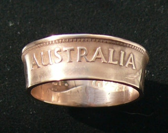 Bronze Coin Ring 1949 Australia 1/2 Penny - Ring Size 8 1/2 and Double Sided