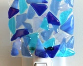 Fused Glass Mosaic Night Light - Cobalt and Light Blue - Iridescent Glass
