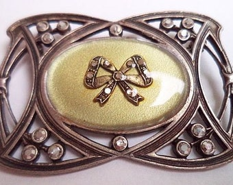 Art deco Marcasite Brooch Pin Geometric Ribbon Bow Design Rhinestones Silver Meta 2 in Vintage