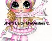 INSTANT DOWNLOAD Digital Digi Stamps Big Eye Big Head Dolls  IMG186 Snow Board Girl By Sherri Baldy