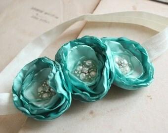SALE - Green Lollipop Flower Headband Hair Accessory Flower Girl Headband, Mint Green, Pearls, Rhinestones, Garden Wedding, Photo Prop