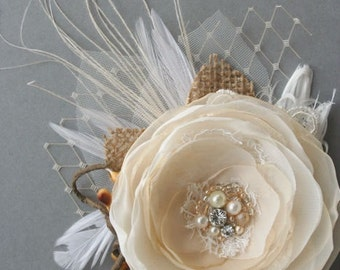 Rustic Wedding Hairpiece, Bridal Flower Hair Clip Fascinator Vintage Wedding Hair Flower Burlap Lace Feathers Veil Champagne Ivory Nature