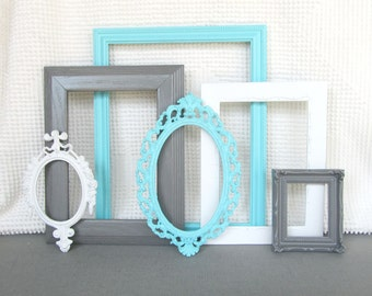 Yellow Grey Gray White Vintage Ornate Frames Set Of 7 By