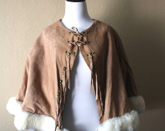 Vintage Suede Cape with  Novelty Print Cowboy Lining and Sheepskin Trim
