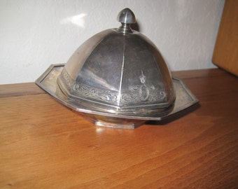 Vintage Silver Plated Octagon -Shaped Butter Dish - Wilcox