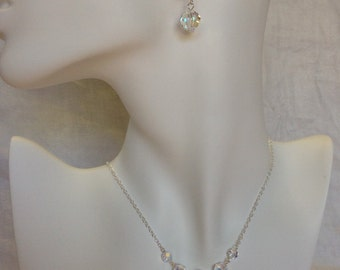 925 Cascading Swarovski Necklace and Earring Set