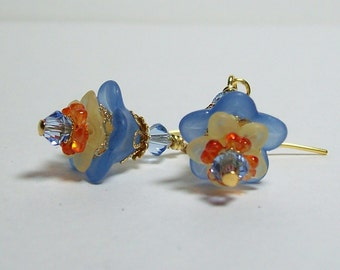 Lucite Flower Earrings. Blue, Yellow and Orange Earrings. Vintage Inspired Lucite Earrings with Swarovski Crystals. Colorful Earrings.