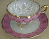 Pink and Gold Lusterware Teacup