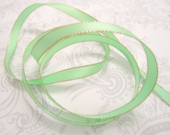 Gold Edged Mint Satin Ribbon 3/8 inch -- 3 yards -- Pistachio Green -- 9.5mm