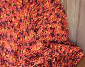 Pink Multicolored Afghan - Wildflowers Blanket - Brown Yellow Orange Pink - Throw - Crocheted
