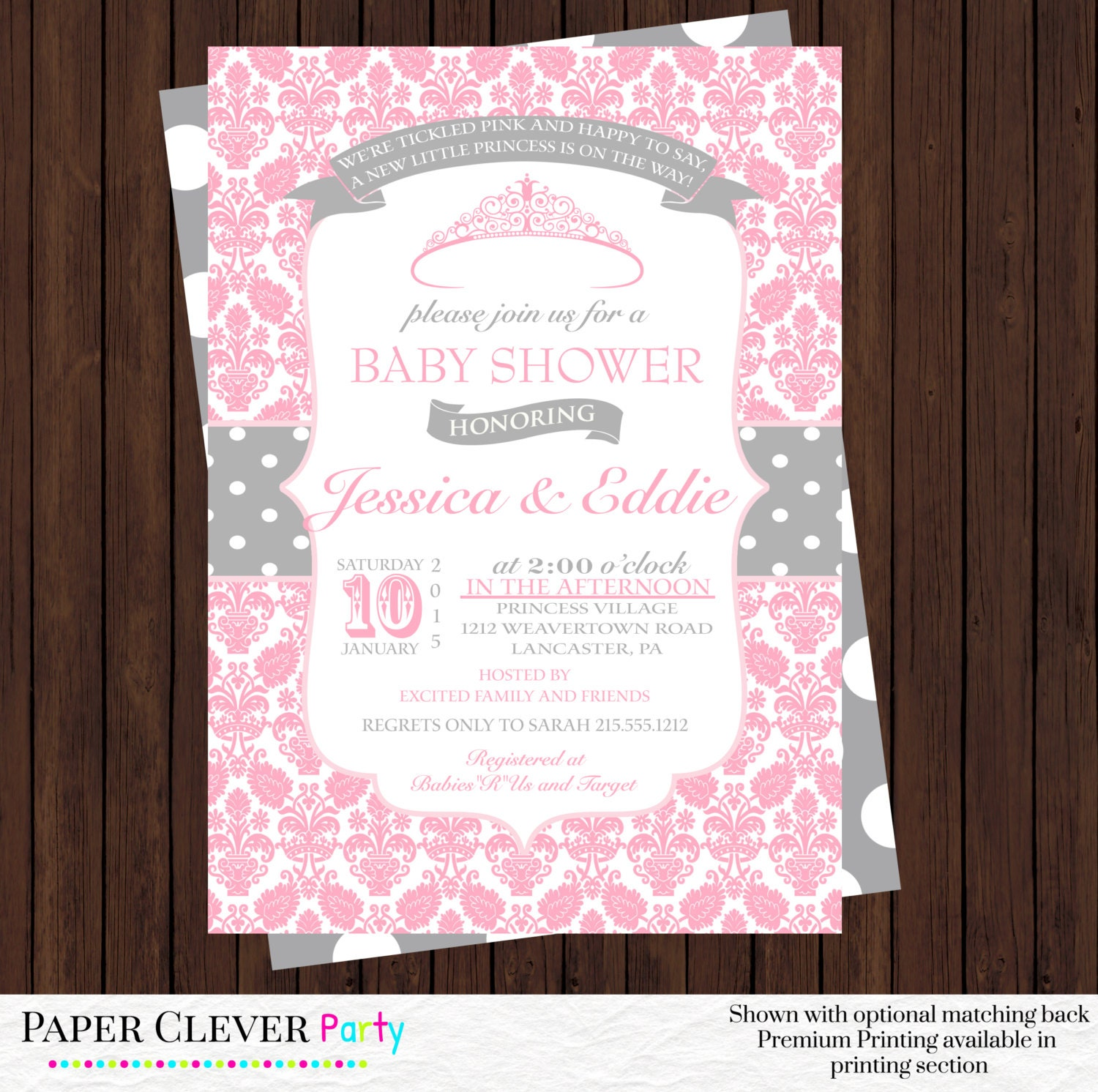 princess baby shower invitations pink damask by papercleverparty