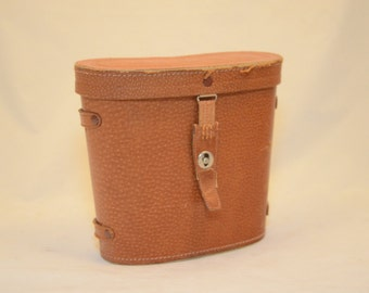 1940-1960s Japan Binocular Case in Split Tan Leather Cover with red felt interior - Steampunk Flair