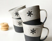 Ceramic mugs set of 4 snowflake mug black stoneware Christmas Gift Hostess Gift Gift for Goodies Coffee Mug