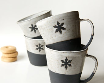 Ceramic mugs set of 4 snowflake mug black stoneware Christmas Gift Hostess Gift Gift for Goodies Coffee Mug