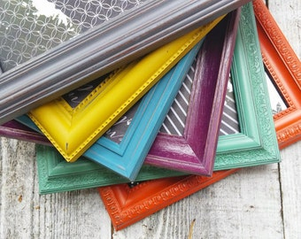 COLORFUL 8 x 10 SHABBY CHIC Frames- Set of 6 Picture Frames 8 x 10 Frames in assorted colors