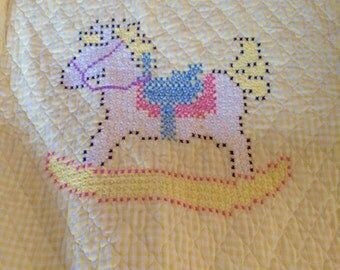 Vintage Handmade rocking Horse Wall Hanging/ Baby Quilt
