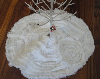 Christmas Tree Skirt French Country Table Tree Skirt White Christmas