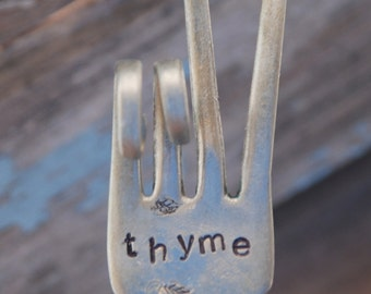 THYME hand stamped PEACE SIgn fork Garden Marker art