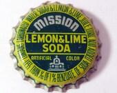 25 Bottle Caps Mission Lemon Lime Soda Pop Vintage Unused Cork Lined