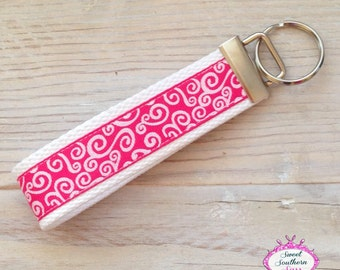Pink and White Swirl Key Chain - Key Fob