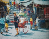 SIGNED ASIAN PAINTING - Oriental, Asian, Impasto, Oil, Rickshaw, Impasto Vintage Antique