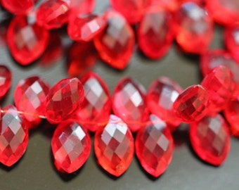 Ruby Red Quartz Faceted Marquise Briolettes, 12 mm, 6 beads GM2236FM/12/6