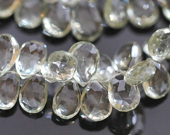 Green Amethyst Faceted Pear Briolettes, 13 - 14 mm, 2 beads GM0103FP/14/2