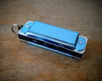 Miniature Harmonica Pendant, Baby BLUE / Silver, Mini Mouth Organ Charm, Jewelry Supplies