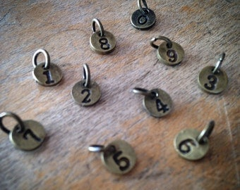 10 Pcs Number Charms 0-9, 6mm Charm Numbers, Antique Bronze