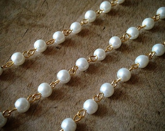 100cm Round Pearl White Bead Necklace Chain 5mm Bead Gold Chain Jewelry Making Supplies (EC018)