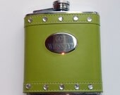Got Whiskey Green  Leather 6oz Flask-With or Without Rhinestones-St Patricks day-irish-wedding-groomsmens gift