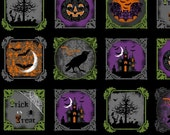 "SALE - Windham Fabrics - Raven - Halloween Blocks - PANEL Fabric - 24"" x 44"""