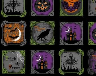 "SALE - Windham Fabrics - Raven - Halloween Blocks - PANEL Fabric - 24"" x 44"""