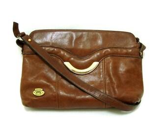 Vintage Etienne AIGNER Brown Leather Shoulder Bag Vtg Leather Purse