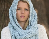 Infinity Scarf Textured Lacy Crochet Circle Cowl THE IGMAN Glacier Blue