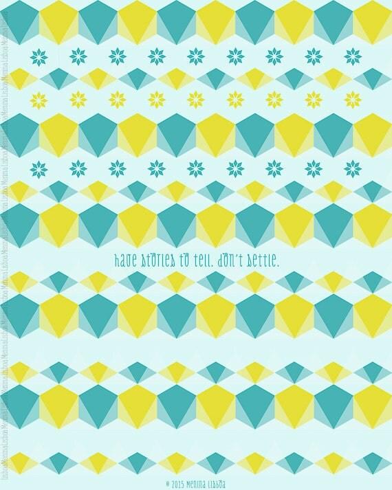 Geometric Pattern Print Lime Teal Blue Decor Diamond