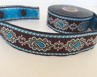 25 mm blue and brown tears pattern Jacquard ribbon, Embroidered border, Jacquard trim, Woven Border, Craft border, white tears  ribbon